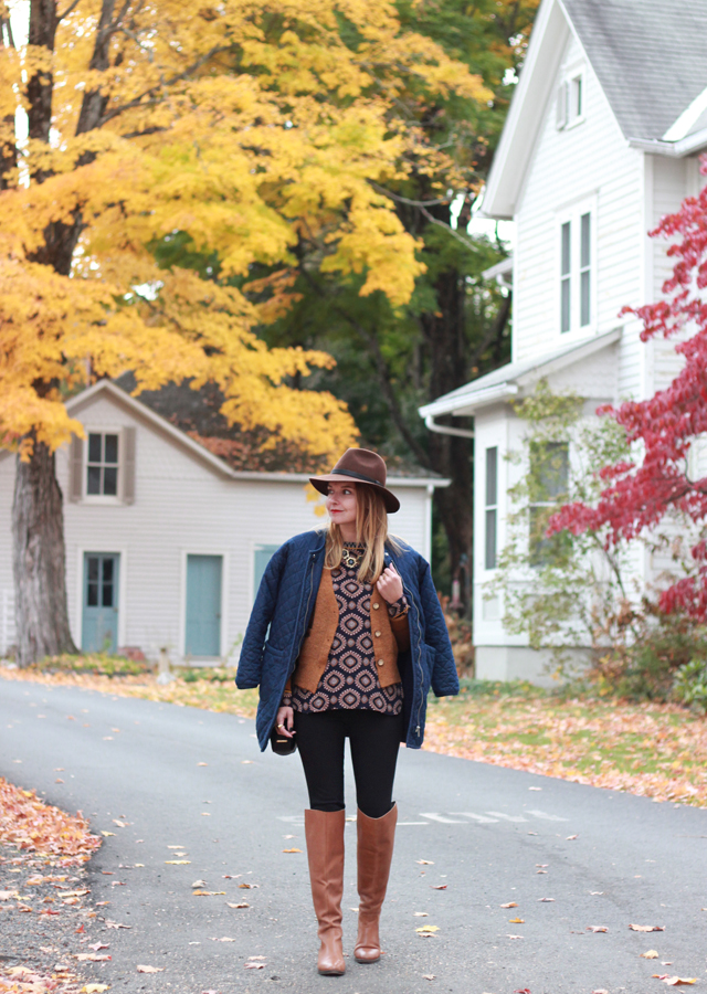 Printed blouse, cardigan and Sole Society over the knee riding boots