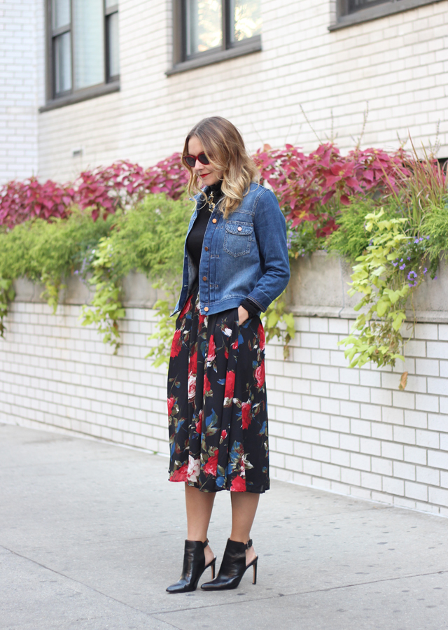 Denim Jacket and Floral midi skirt with pointy toe booties