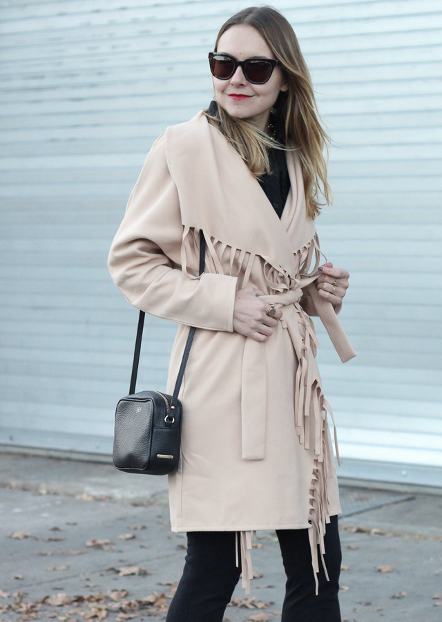 Fringe statement coat and haircalf leopard heels