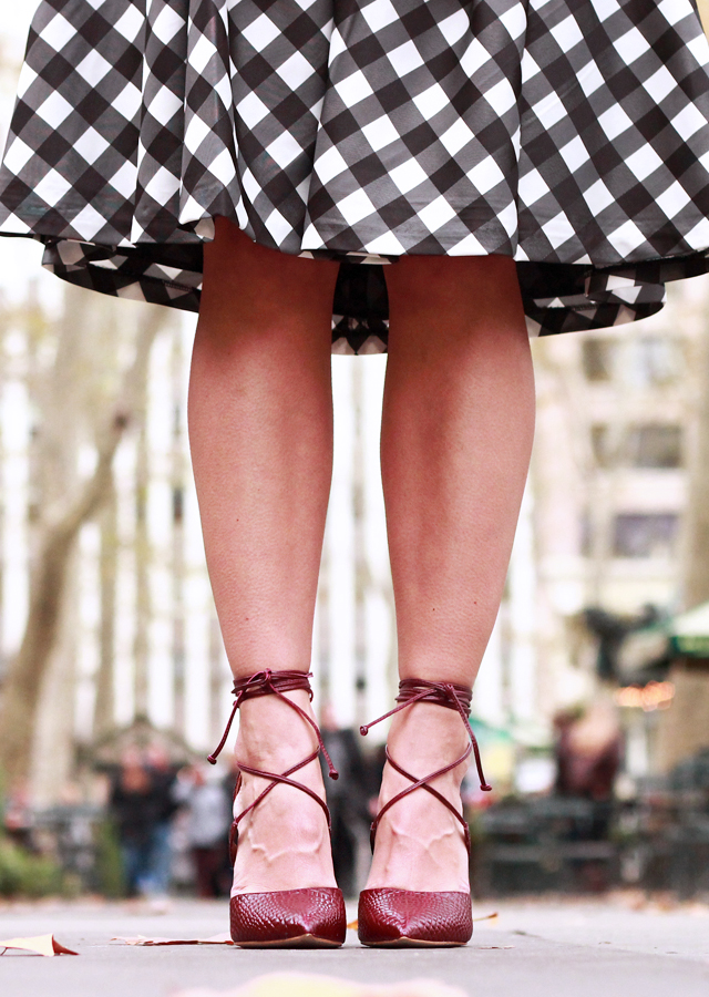 Holiday Party Style: Talbots Gingham Skirt and Steve Madden Lace-Up Heels