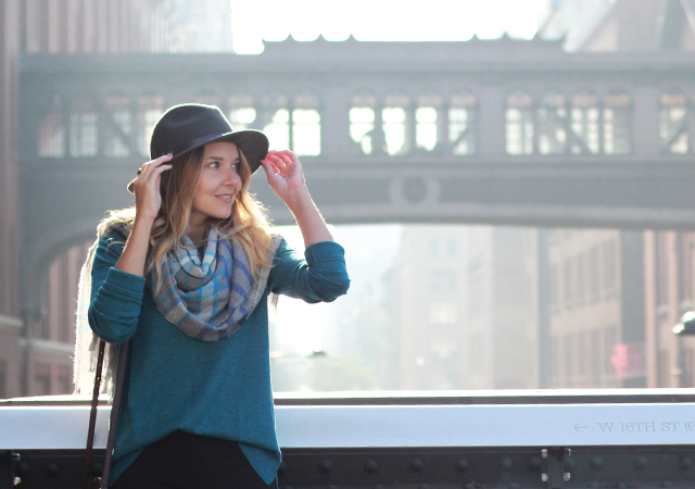 NYC Highline wearng Talbots sweater, plaid blanket scarf and wool hat