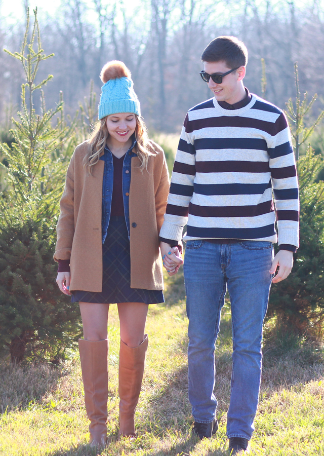 His and hers Holiday Style - in a striped sweater, camel jacket, and Anthropologie faux fur pom beanie