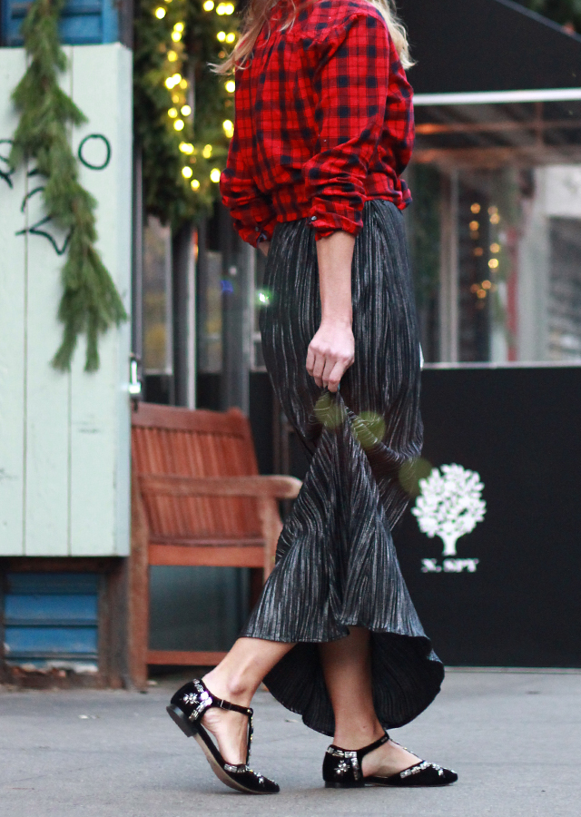 Holiday Party Style: Talbots buffalo plaid shirt, metallic maxi skirt and embellished flats