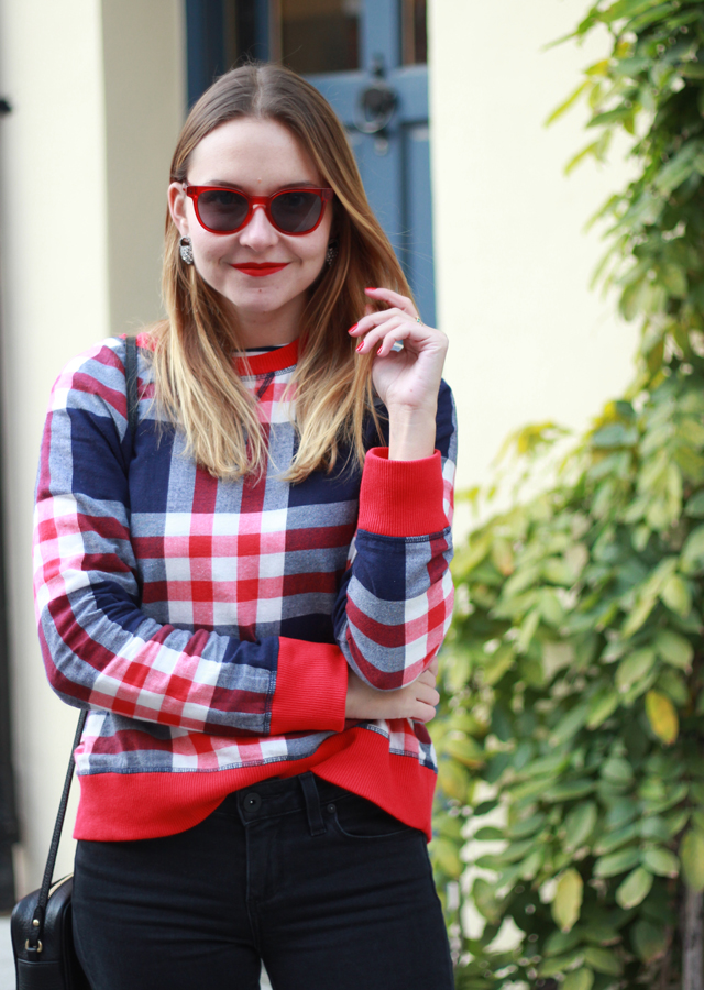 Plaid top and distressed denim with loafers
