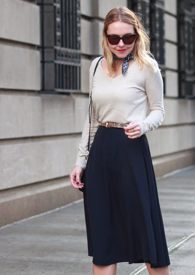 OFFICE STYLE: MIDI SKIRT AND NECK SCARF - The Steele Maiden