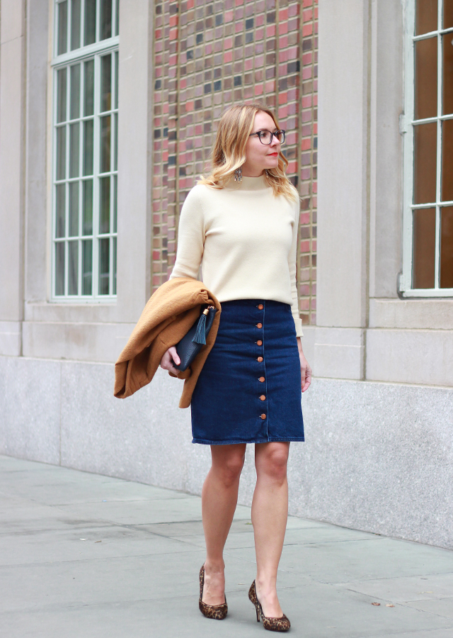 Casual Friday Office Style - ASOS Denim Button Front Skirt and Leopard Pumps