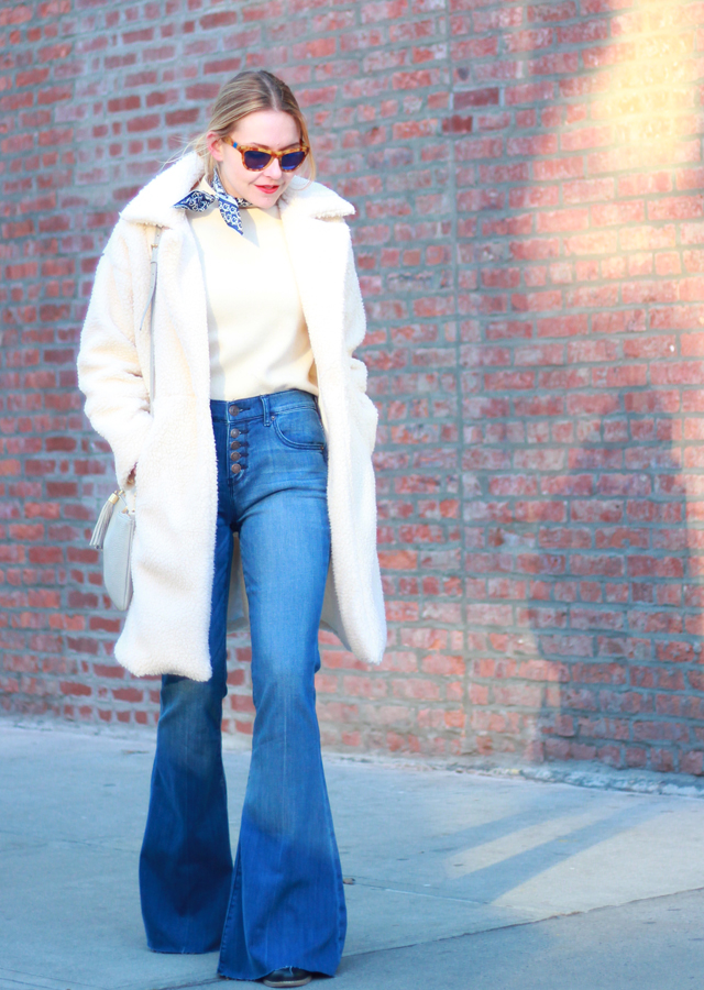 NYFW LOOK 1: FLARE JEANS AND TEDDY BEAR COAT - The Steele Maiden