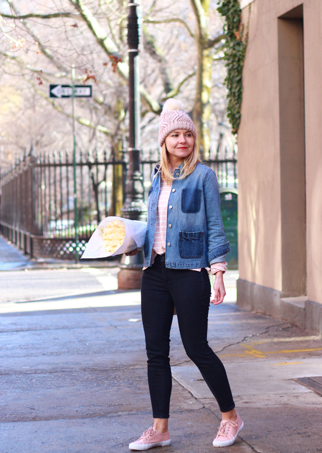 Casual Valentine's Day Look in Old Navy Pink Stripe T-shirt and denim jacket
