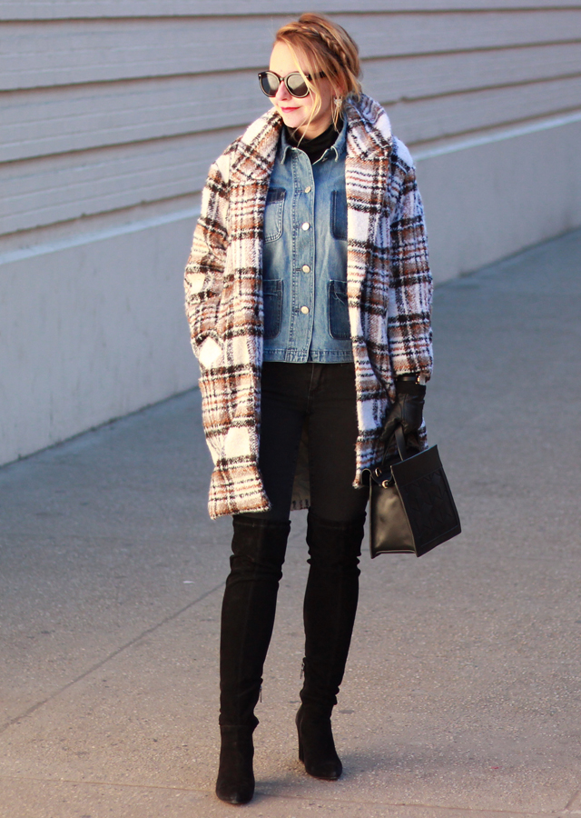 NYFW street style - plaid cocoon coat and denim jacket