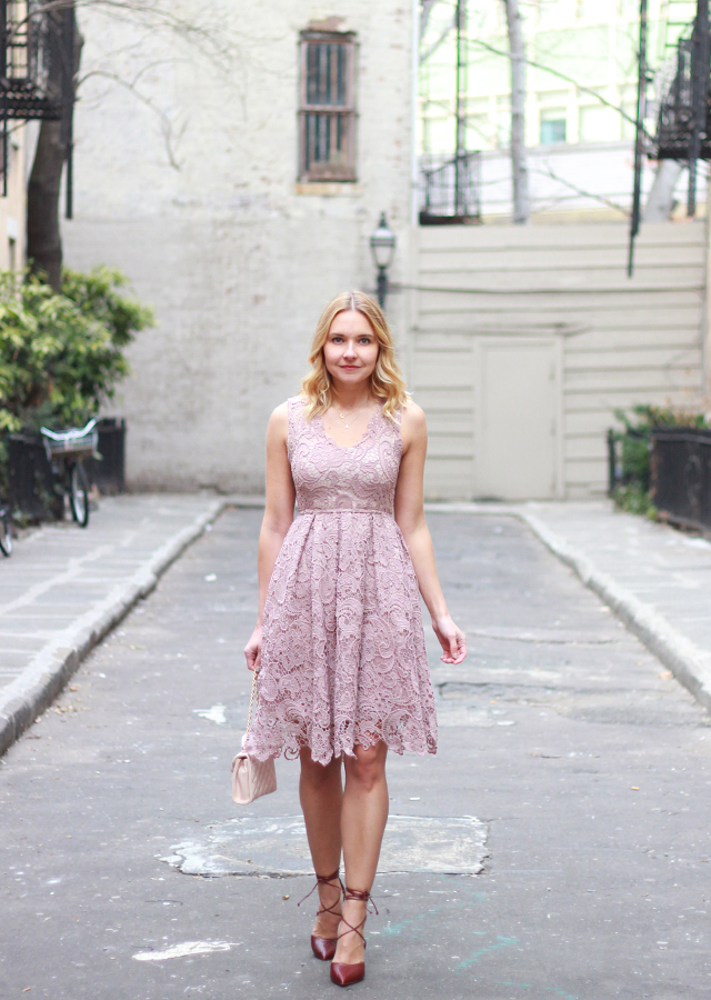 Valentine's Day Date Night - Lace dress and lace up heels