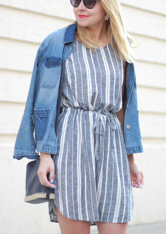 Old Navy Stripe Linen Dress and Coach White Sneakers