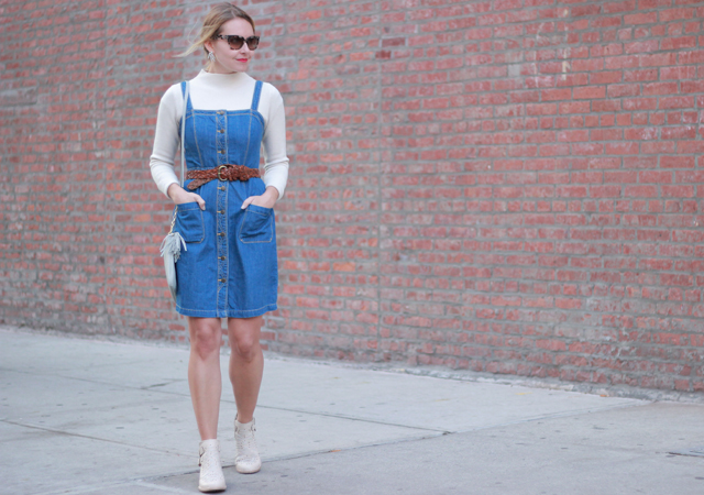 Old Navy Denim Button Front Dress and Looped Ponytail