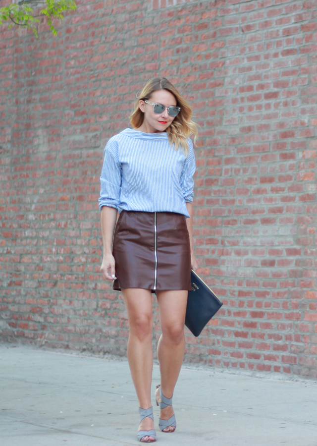 Pinstripe top and faux leather mini skirt