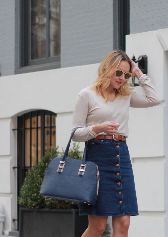Button Front Denim Skirt and Navy Satchel Handbag
