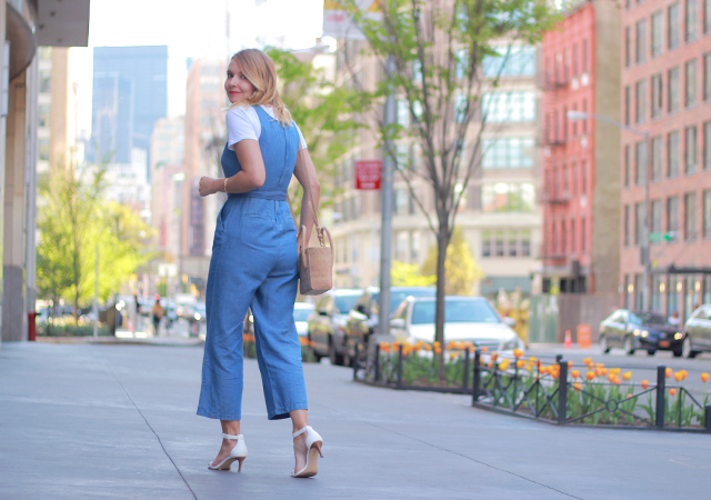 Denim Culotte Jumpsuit and Ankle Strap Heels