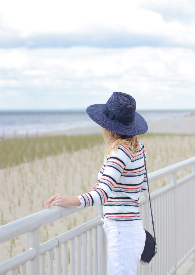 Memorial Day Weekend white jeans and Anthropologie striped sweater