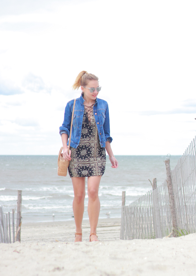 Tobi lace up handkerchief print dress at Rockaway Beach