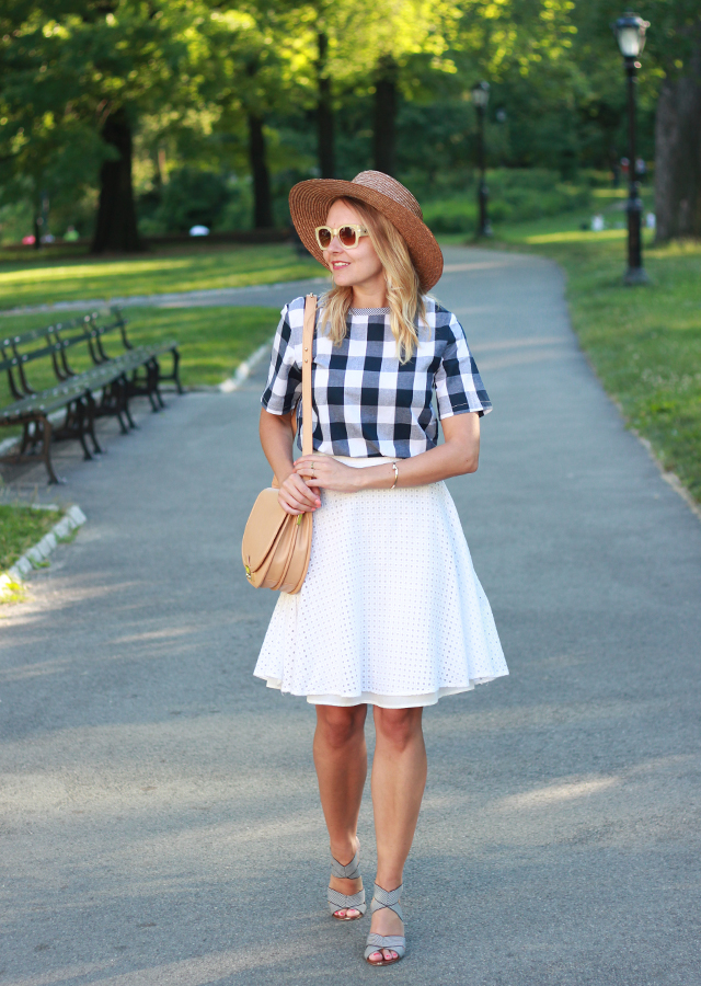 Under $50 Summer Style: Gingham Top and White Midi Skirt in Central Park