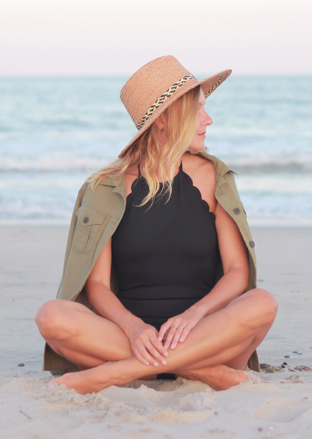 Beach Weekend Style: Scallop Black One Piece Bathing Suit, Straw Hat and Cargo Shirt