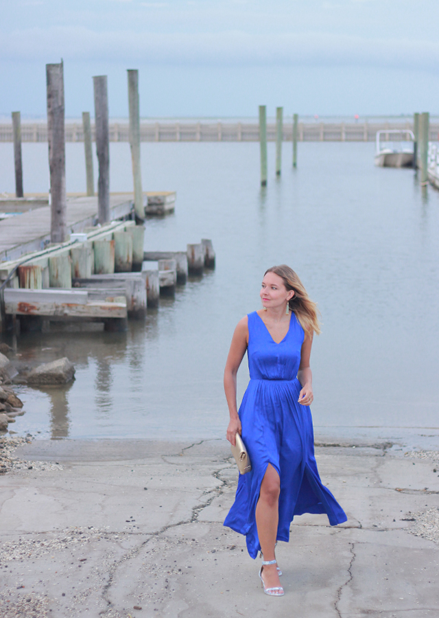 Wedding Guest Style: Cobalt Blue Thigh Slit Maxi Dress