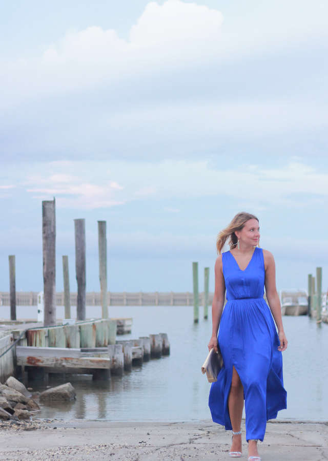 What To Wear To A Summer Wedding Blue Maxi Dress