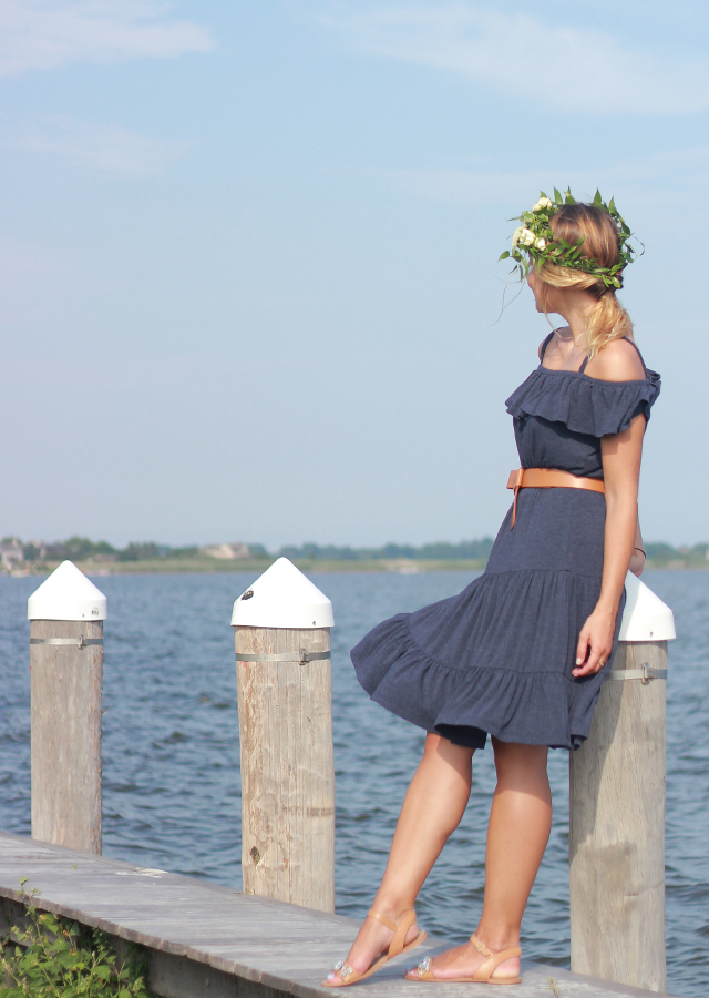 The Hamptons: wearing Design History off the shoulder ruffle dress and floral crown