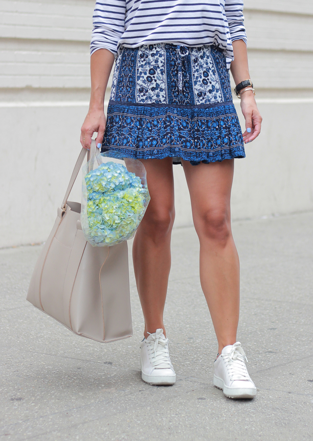 Striped Shirt, Floral skirt and Sole Society tote bag