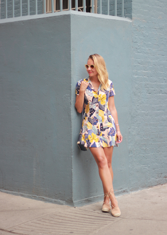 Summer style: palm print minidress and lace-up espadrilles
