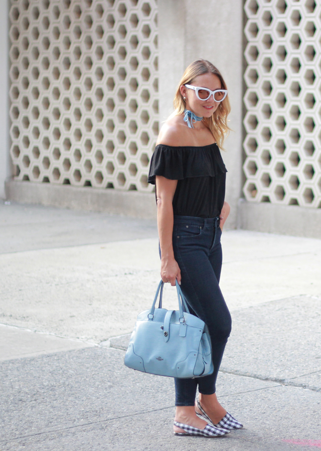 Retro-Inspired Off the Shoulder Top and Cat-eye Sunglasses