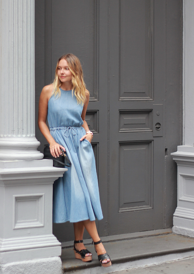 Soho, NYC: Lou & Grey Chambray Cutout Dress and Marc Fisher Platforms