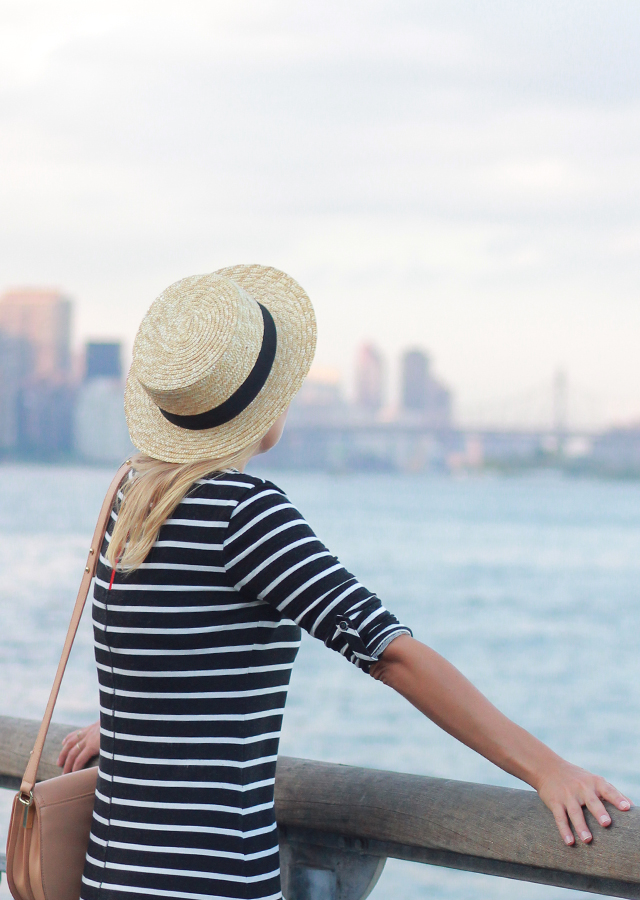 Nautical Style: Talbots striped knit dress and straw boater hat