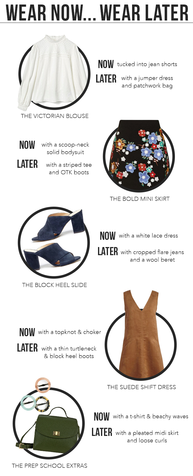 Wear Now Wear Later - transitional trends for Summer to Fall