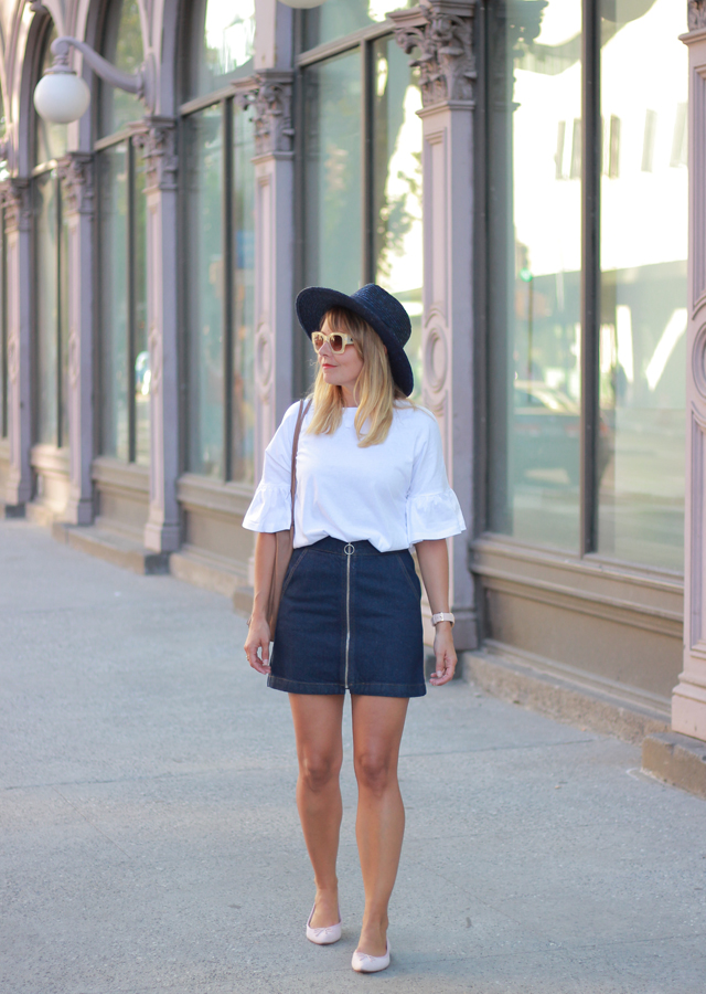 The Steele Maiden: Bell Sleeve Top and Topshop Denim Zip front Miniskirt