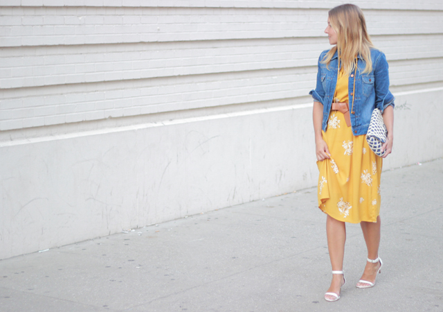The Steele Maiden: Loft yellow floral dress and denim jacket