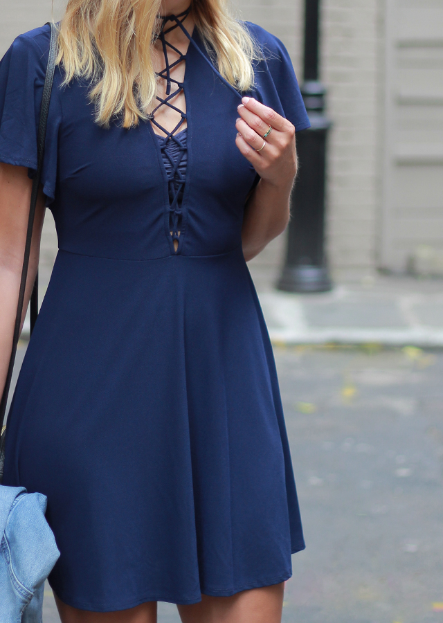 Date Night Style Navy Lace Up Dress And Snakeskin Boots
