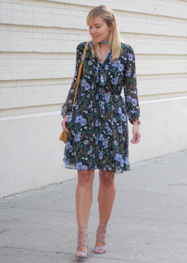 821f3fd4f The Steele Maiden: Fall Florals - Banana Republic Dress and Lace-Up Suede  Heels