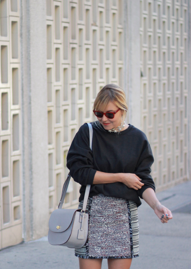 The Steele Maiden: Fringe tweed skirt and over the knee boots