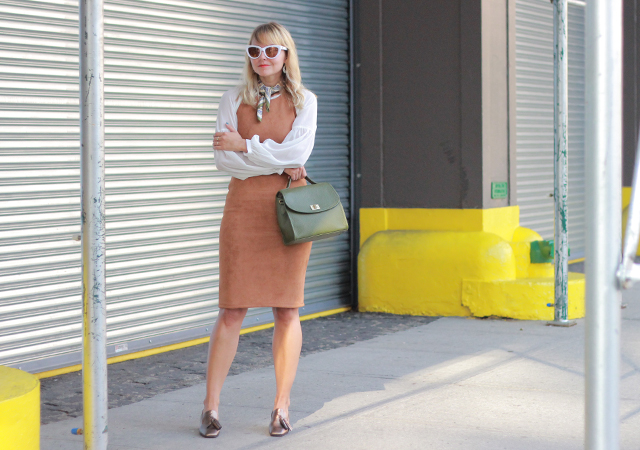 The Steele Maiden: NYFW Street Style - Suede dress, Metallic Tassel Loafers and Olive Green Satchel