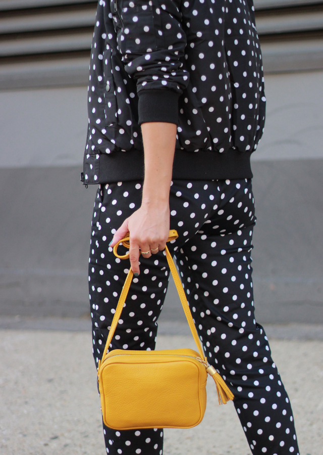 The Steele Maiden: NYFW Street Style - Polka Dot Bomber Jacket Yellow Bag