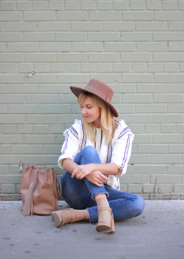 The Steele Maiden: Weekend style - Anthropologie fringe sweatshirt and neutral ankle boots
