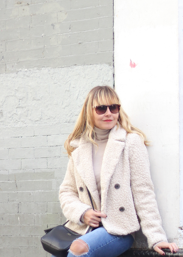 The Steele Maiden: Fall Outerwear with Banana Republic Teddy coat and neutral turtleneck
