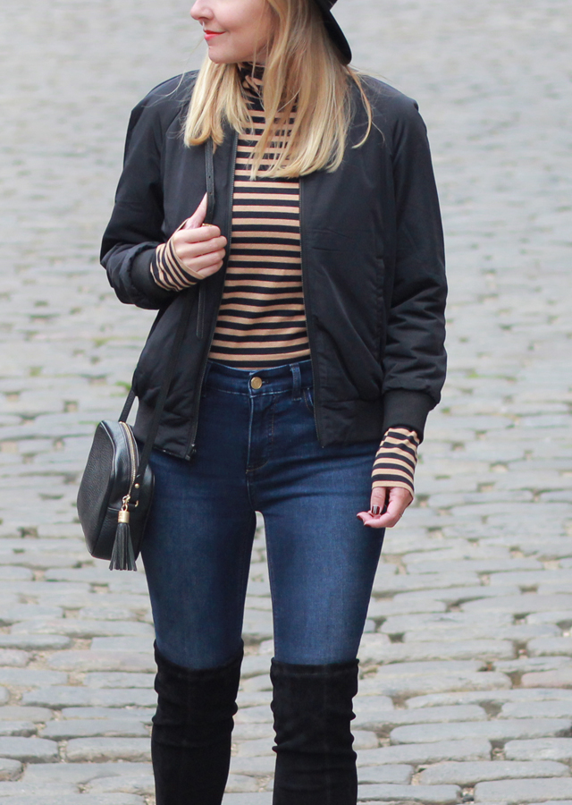 The Steele Maiden: Downtown Portland Maine wearing striped turtleneck and over the knee boots