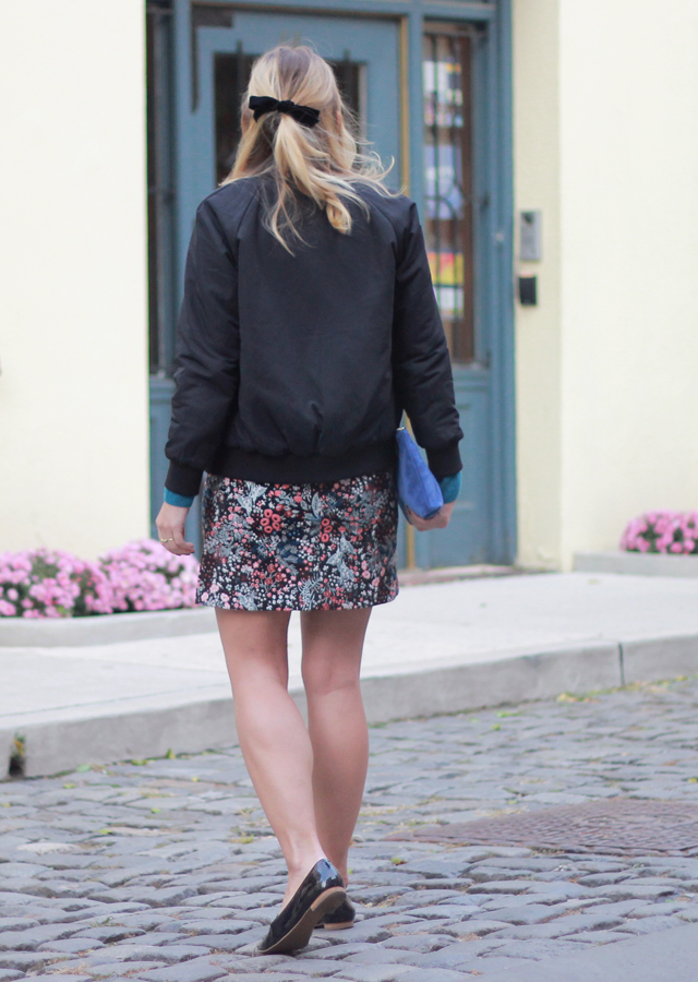 The Steele Maiden: Floral miniskirt black bomber jacket and velvet hair bow