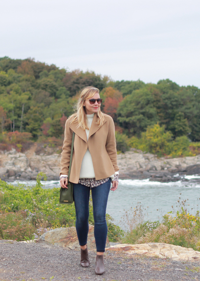 Visiting Portland Head Light in Cape Elizabeth Maine wearing Talbots fall layers
