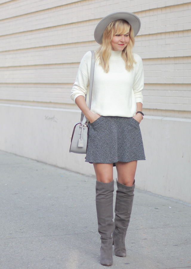 The Steele Maiden: Grey Boater Hat and Oversized sweater