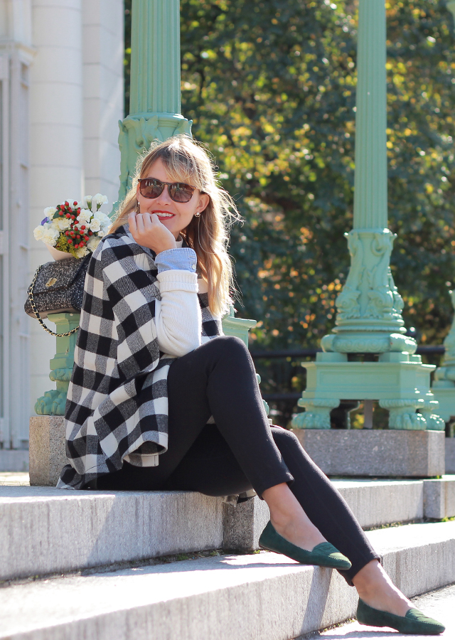 The Steele Maiden: Buffalo Plaid Cape and Suede Loafers - Casual Holiday Style with Talbots