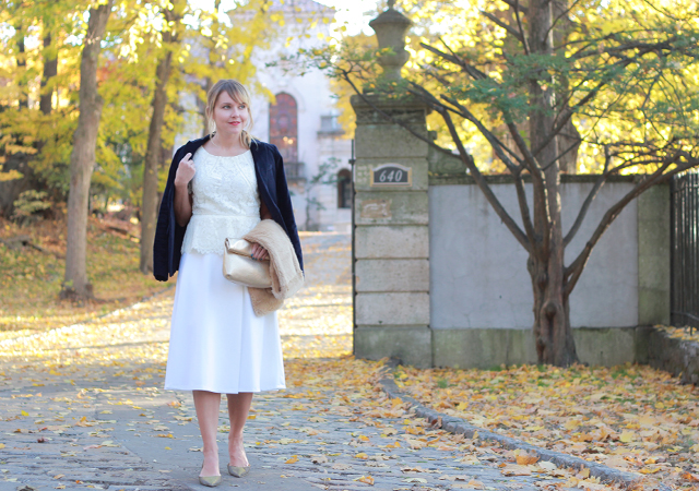 Classic holiday style with Talbots - white midi skirt, velvet blazer and faux fur scarf