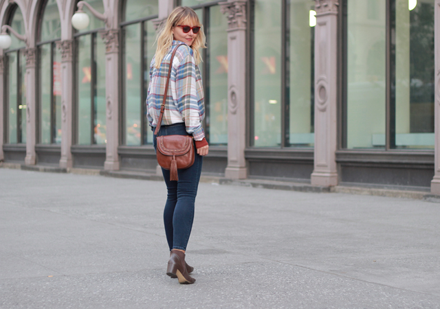 Nordstrom Plaid Boyfriend Shirt and Fossil Leather Tassel Bag