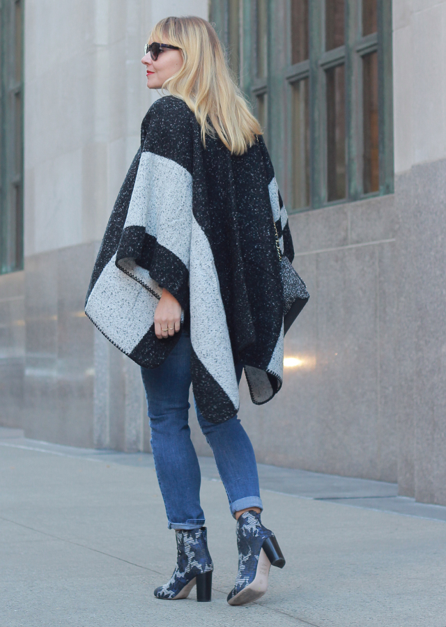 Sole Society Poncho and Floral Booties
