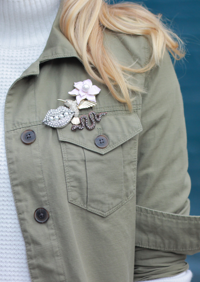 The Steele Maiden: How to wear brooches on a cargo jacket for fall